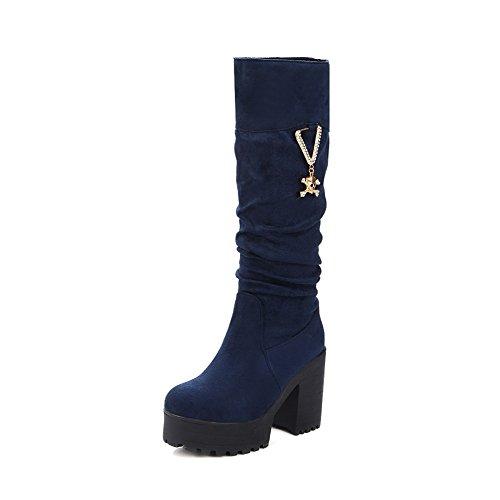 AllhqFashion Damen Ziehen Auf Rund Zehe Hoher Absatz Stiefel mit Anhänger Blau