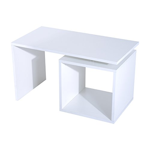 Homcom Table Basse contemporaine Design géométrique carré rectangulaire 77L x 40l x 44H cm Blanc Mat