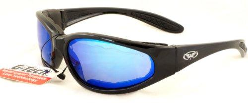 Motorrad Rundum-Sonnenbrille mit E.V.A foam und bruchsicher G-Tech blauen Gläsern mit Mikrofaserbeutel zur Aufbewahrung.