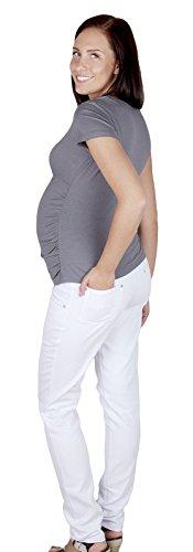 Mija – Jean Pantalon élégant de maternité Denim 9044 Blanc