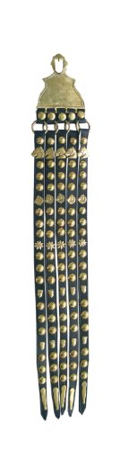 Schwungriemen für Kummetgeschirr aus Messing | Zierriemen mit großer Gravurplatte, 5-reihig