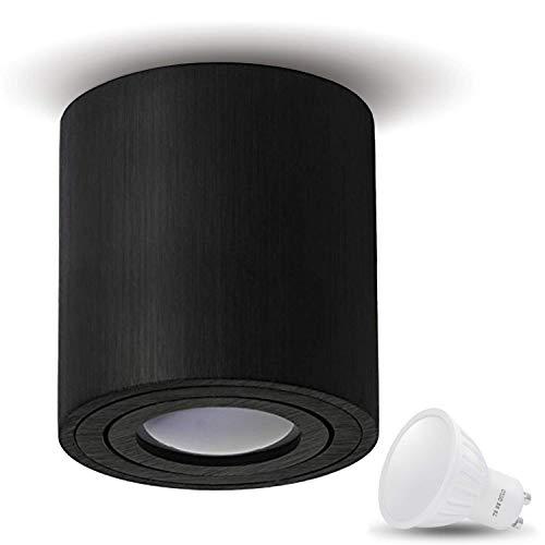 JVS Aufbauleuchte Aufbaustrahler Deckenleuchte Aufputz LED 7W Warm-weiß Milano GU10 Fassung 230V rund schwarz schwenkbar Deckenleuchte Strahler Deckenlampe Aufbau-lampe Downlight aus Aluminium -