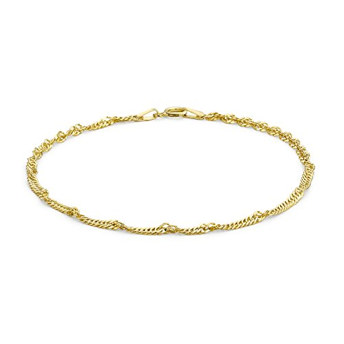 Carissima Gold Women's 9 ct Yellow Gold Twist Curb Chain Anklet of Length 25.5 cm/10 Inch 1.23.0485