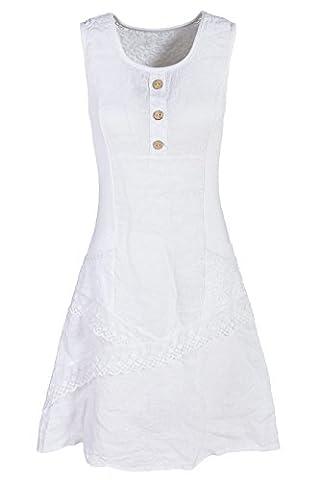 GS-Fashion Leinenkleid Damen Sommer mit Spitze am Rücken KLeid ärmellos knielang Weiß 42