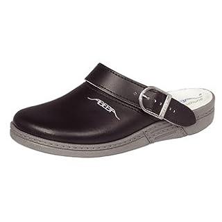 Abeba A898-39 Leather Clogs, Size 39, Black