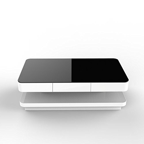 UEnjoy Gloss Coffee Table White with Drawers and Black Tempered Glass Top Living Room Furniture