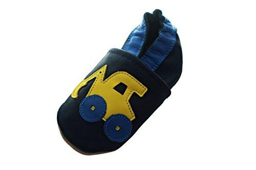 (Engel+Piraten Krabbelschuhe Markenqualität Aus Deutschland- Viele Modelle bis 4 Jahre Babyschuhe Leder Lauflernschuhe Lederpuschen (2-3 Jahre(Gr.24/25), Bagger Blau))