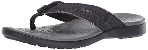 Crocs Santa Cruz Canvas Flip Men Scarpe da Spiaggia e Piscina Uomo, Multicolore (Black / Slate Grey 000), M12, 46/47 EU