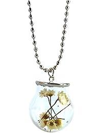 Catenina con ciondolo rotondo in vetro contenente fiori; da ragazze, con souvenir sotto-vetro