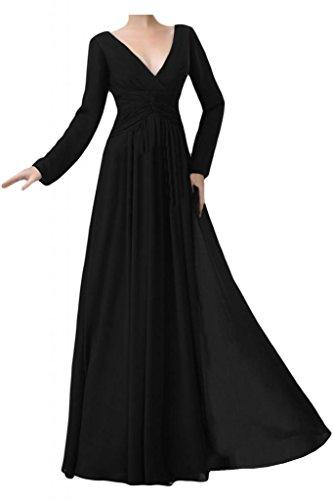 Toscana sposa dall'effetto V-taglio Chiffon stanotte vestimento lunga sposa madre festa Ball Bete vestimento Nero