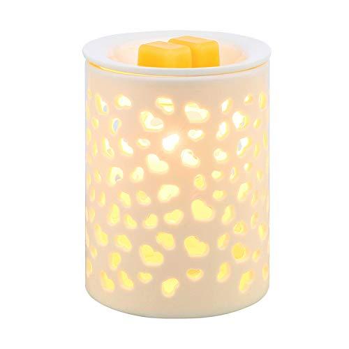 coosa Keramik Diamant Muster Öl Wärmer Elektrische Räuchergefäß oder Wachs-Tart-Brenner Nachtlicht für Home Office Schlafzimmer Wohnzimmer Heart-shaped -