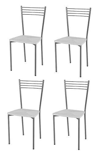 Tommychairs sedie di Design - Set 4 sedie Moderne Elena per Cucina, Bar e  Sala da Pranzo, con Robusta Struttura in Acciaio Verniciata Color Alluminio  ...
