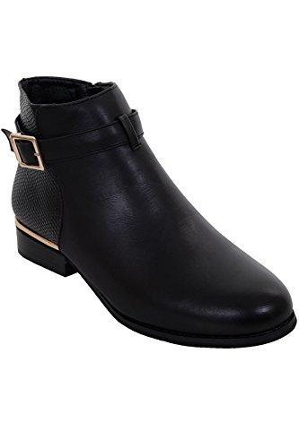 Fantasia Boutique femmes Peau de serpent simili cuir Contraste boucle talon bas chaussures bottines cheville glissière Noir