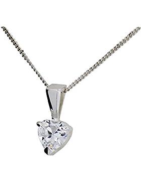 925er Sterling Silber Kette mit Zirkonia Herz Anhänger 46 cm von der Olivia Collection Cl1347 - 4155247010