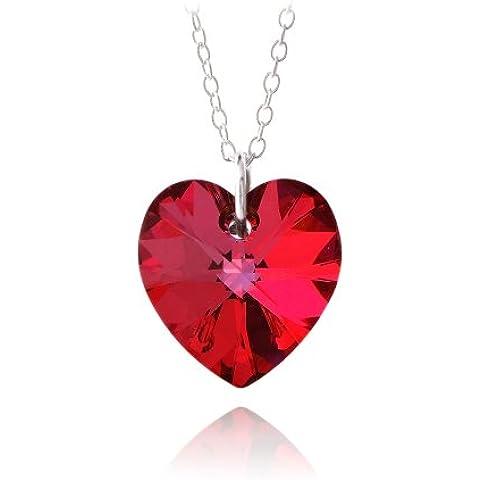 Collana in argento sterling con pendente a cuore di Swarovski color rosso rubino