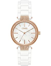 Chaps Alanis Rose Gold-tone y three-hand de cerámica color blanco reloj 3781eeedd54c