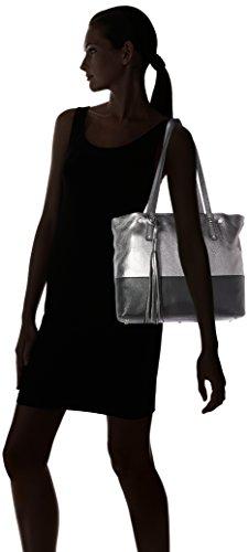 Arcadia Kira 0887, Borsa a Spalla Donna, 14 x 28 x 35 cm (W x H x L) Argento (Silver/Nero)