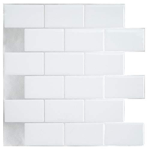 ber 3D Selbstklebende Klebefolie Fliesen Aufkleber Wasserdicht Küche Badezimmer Ziegelstein (Weiß) ()
