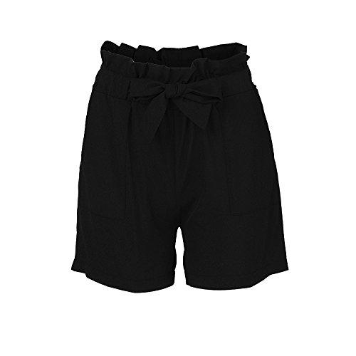 KUDICO Damen Shorts Retro Gestreifte Kurz Hose Beach Sommerhosen mit Elastischem Taillenband High Waist Sporthosen Hotpants Strandshorts(Schwarz 3, EU-38/CN-L)