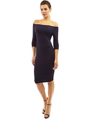 PattyBoutik Damen schulterfreies Kleid mit langen Ärmeln Dunkelblau