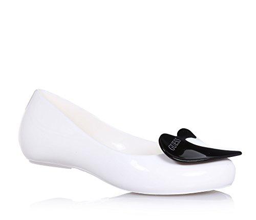 GUESS - Ballerina bianca interamente in pvc, made in Italy, in omaggio borsetta trendy, con punta tonda,, Bambina, Ragazza-30