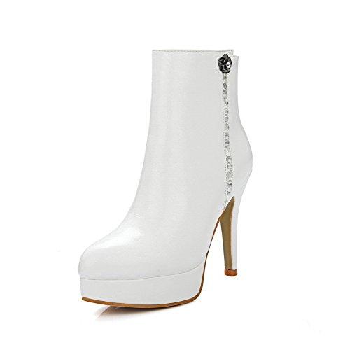 AllhqFashion Damen Weiches Material Rund Zehe Eingelegt Niedrig-Spitze Stiefel, Cremefarben, 37