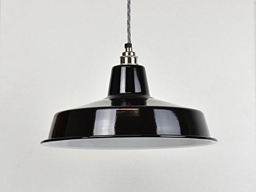 Schwarz mit großen emailliert, Vintage-Lager-Lampenschirm