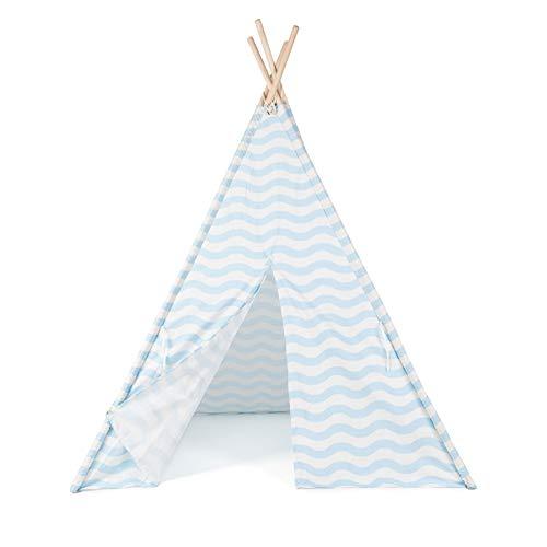 boppi® Teepee Großes Spielzelt für Draußen und Drinnen, tragbar, aus Holz und Zelttuch, Indianerwigwam für Kinder, Spielhaus für Jungs und Mädchen - Blau