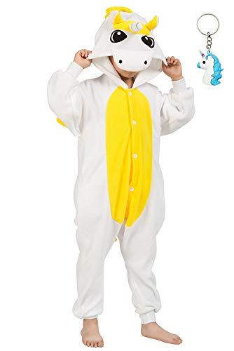 Landove Combinaison Licorne Enfant Ensemble de Pyjama Grenouillère Costume Cosplay Onesie Animaux Romper Déguisement de Halloween Noel Party Soirée Vêtements Nuit Fille Garçon Cadeau