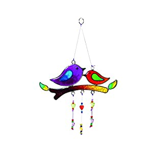Fensterdeko Vögel auf Zweig | Fenster Deko zum Aufhängen | Sonnenfänger | Deko Sommer | Deko Frühling | Fensterschmuck Geschenkidee