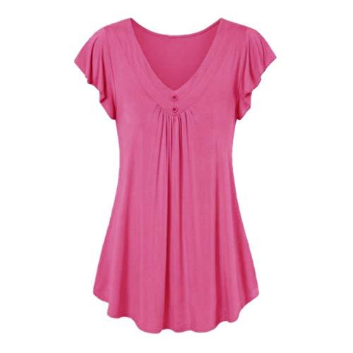 LOPILY Sommer T-Shirt Kurzarmshirt Damen Elegante Übergröße Kurzarm Gekräuselte Geraffte Shirts Blusen Tops Sommer Lässige Unregelmäßiger Saum Falten Bluse Oberteil(X1-Rosa,3XL) -