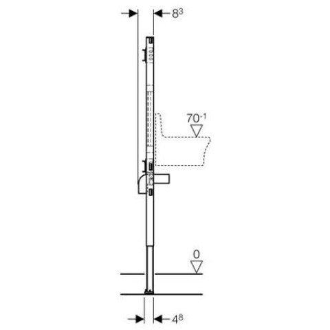 Geberit Duofix Ausgussbecken, 112-130 cm, für Wandarmatur 111.450.00.1
