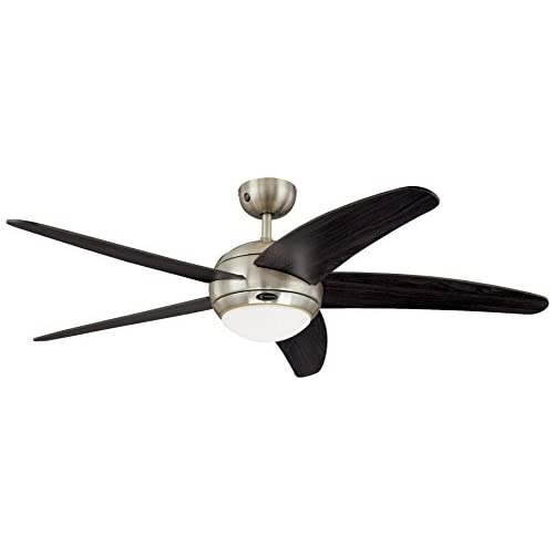 31tMb1 w%2B5L. SS500  - Westinghouse Ceiling Fans 72557 Bendan One-Light 132 cm Five Indoor Ceiling Fan, Opal Frosted Glass, Satin Chrome Finish…