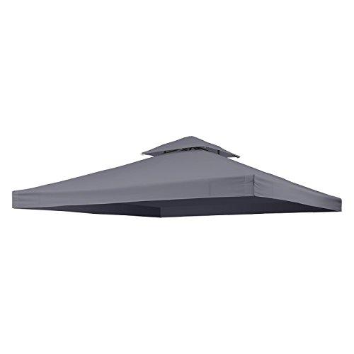 blumfeldt Odeon Roof Grey • Ersatzdach • Pavillon-Bespannung • Festzelt-Dach • 3 x 3 m • 180 g/m² Polyester • wasserabeweisend • Lüftungsöffnungen • Sonnenschutz • für Odeon Pavillon • dunkelgrau