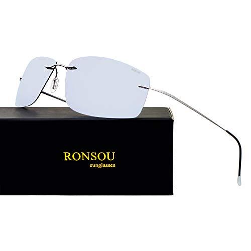 RONSOU Ultraleichte Randlose Titanmode Polarisierte Sonnenbrille für den Außenbereich_Graue Rahmen Silberne Linse (gespiegelt)