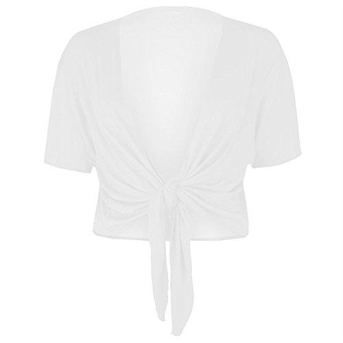 rauen Strickjacke Kurzarm vorne Krawatte Bolero Knoten Wrap Shrug Crop Top (WHITE, XL 44-46) (Skinny White Tie)