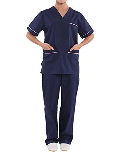 Kostüm Scrubs - THEE Unisex Schlupfkasack Schlupfjacke+Schlupfhose Set Medizin Arzt-Uniform Chirurg Berufskleidung Krankenschwester Kasack Bekleidung (2XL, Damen)