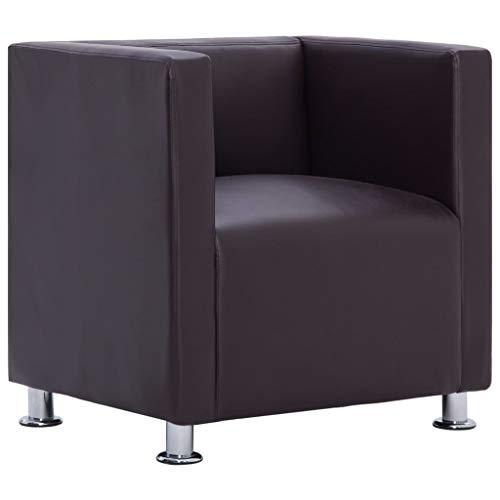 vidaXL Clubsessel Loungesessel Cocktailsessel Relaxsessel Fernsehsessel Ledersessel Lounge Sessel Stuhl Sofa Wohnzimmer Braun Kunstleder