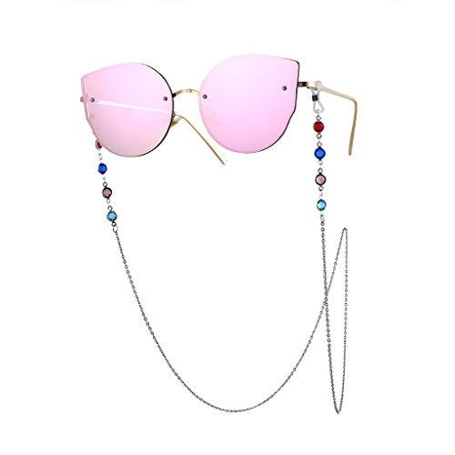 Trisee ✔ Sonnenbrille, Unisex Sonnenbrille Mode Sonnenbrille Vintage Brillengläser Gurt Sonnenbrille mit Kette Perlen Schnur Hängende Gläser