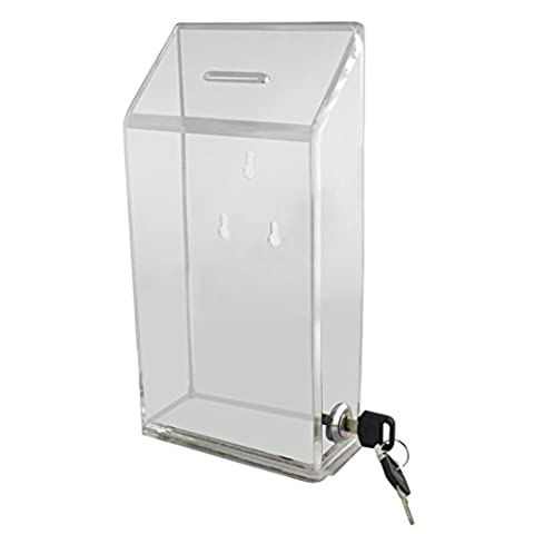 My Charity Boxes - Acrylic Donation Box - Suggestion Box - Collection Box With Front Window & Lock With 2 Key's (AC-01-C)