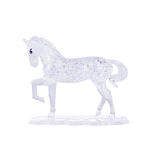 MagiDeal 3D Kristall Puzzle - 100 Stück Bausteine DIY Puzzle Pferd Modell - Farbwahl: Gelb / Weiß - Weiß (3d Crystal Puzzle Pferd)