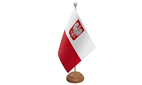 22,9x 15,2cm Polonia Stato Eagle smalto con stemma grande tavolo bandiera con base in legno e asta ideale per feste conferenze Display per ufficio