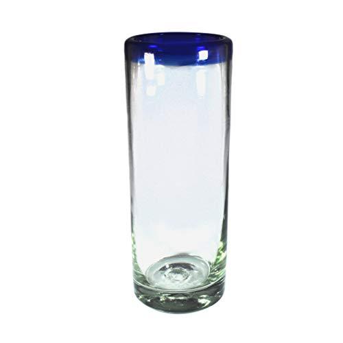 Glas für Wasser mit blauem Rand, 4er Set