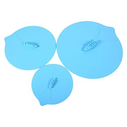 Fdit Set di 3 Pezzi Unico Coperchio della Copertura di Silicone di Progettazione di Nave di Vapore Coperchio di Ciotola, Coperchio della Tazza di Tazza di pentole Gadget da Cucina Blu