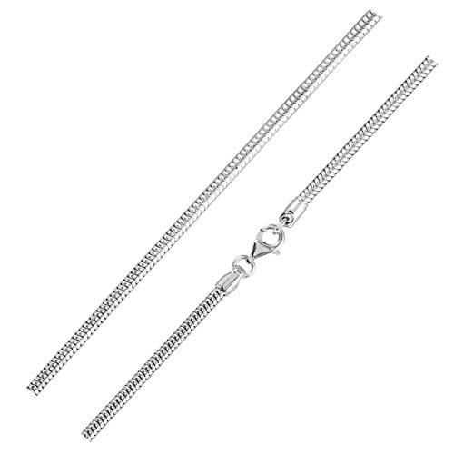 MATERIA Schlangenkette silber 925 - Halskette Damen 1,0mm Silber Kette in 11 Längen 40-120 cm verfügbar #K33, Länge Halskette:55 cm