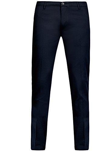oodji Ultra Herren Hose Slim Fit aus Strukturiertem Stoff Blau (7900J)