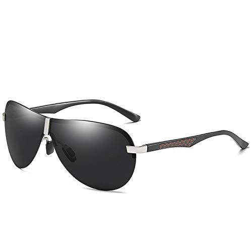DEER HOUSE Sonnenbrille für Herren, polarisiert, UV400, schwarzes Metall, Nachtsicht, Fahren Gr. Einheitsgröße, Silbergrau