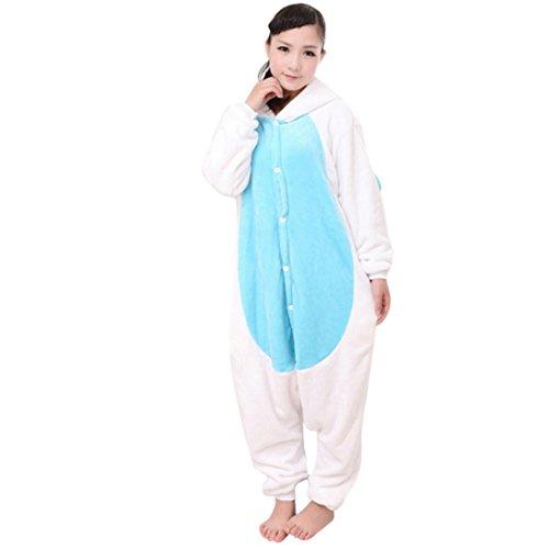 Feoya - Licorne Onesie Pyjama Unisexe Adulte - Kigurumi Animaux Combinaison Costume Cosplay - Bleu - Taille XL