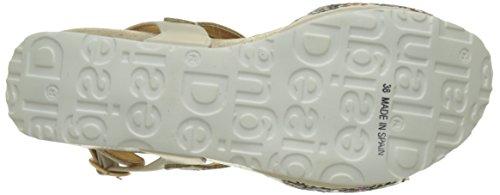 Desigual White Flowers, Scarpe Col Tacco con Cinturino a T Donna Bianco (white 1000)