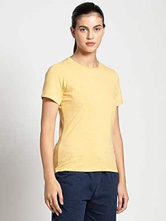 Jockey Women's Regular fit T-Shirt (AW15_Banana Cream Snow Melange Large)